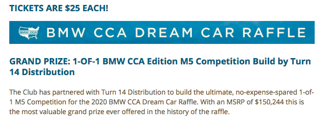 BMW CCA Dream Car Raffle